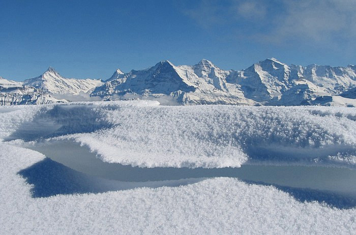 The view of the Eiger, Mönch and Jungfrau / Photo: Fritz Bieri