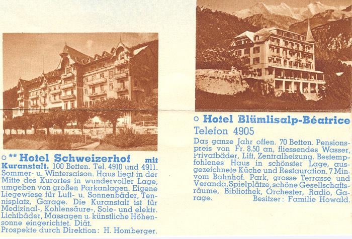 Bilder Beatenberg (Berner Oberland, Schweiz) / Geschichte Dorf Hotels